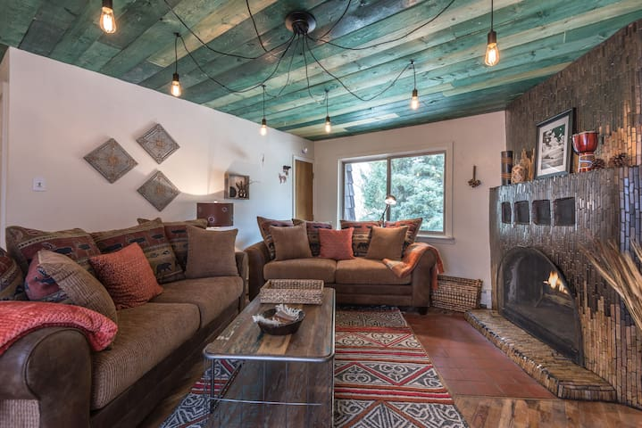 Living Area with wood burning fireplace