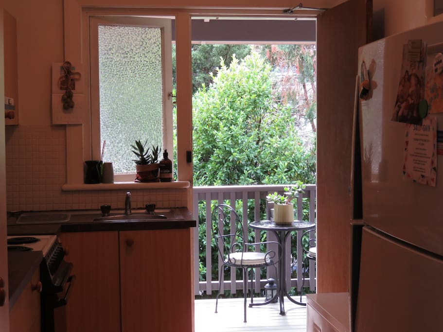 Kitchen through to balcony