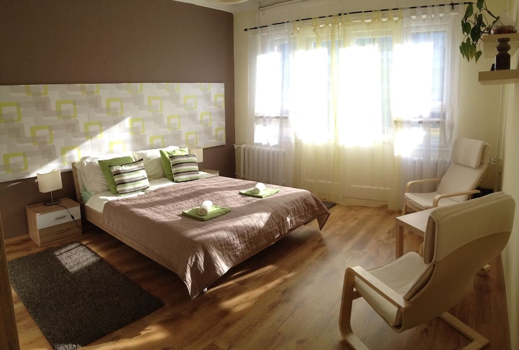 Refreshed bedroom with wall decoration