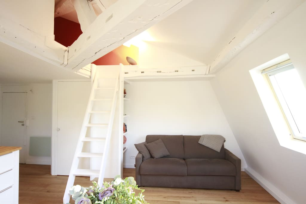 Secured access to the mezzanine by an integrated ladder and double sofa bed.