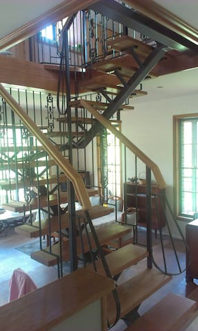 Stairway to upstairs living area