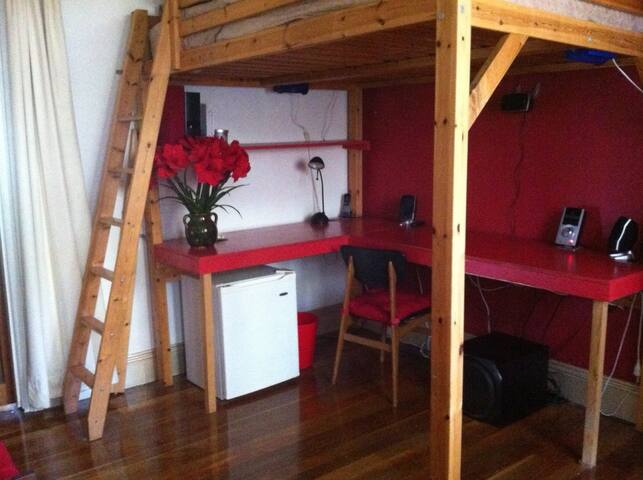Loft studio bedroom. Your bedroom. Your office. Your creative space. Private and secure.