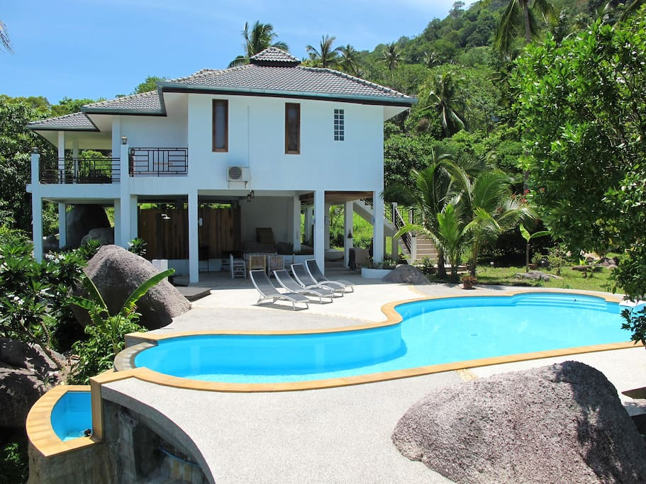 Luxury villa built in a tropical garden upon Sairee Hill,  Koh Tao.