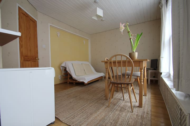 Looking towards living room from kitchen.