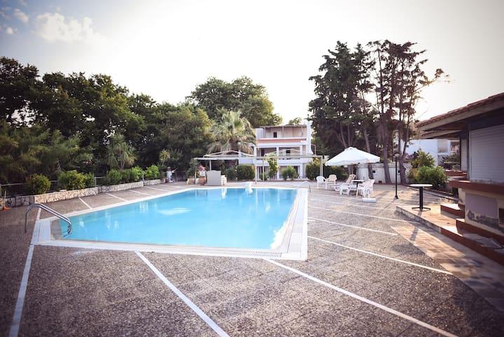 Seagull studio with pool on the beach,Vasilika