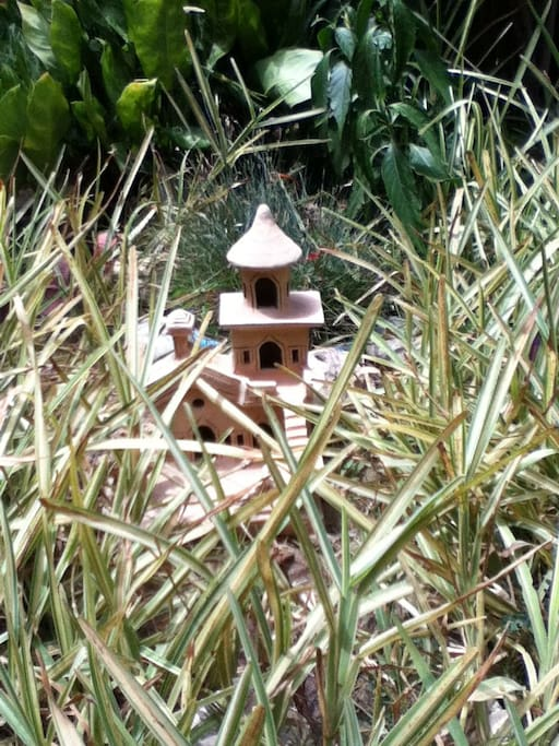 I've hidden curiosities in the garden for the imaginative! ('curiosities' keep changing with season and... moods.)