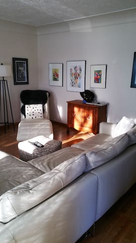 Light filled comfy living area w/ sectional and leather chaise, tv, buffet with games and  movies.