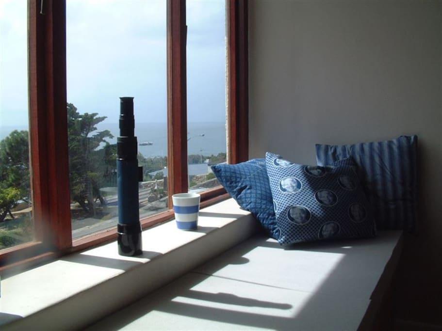 Window seat views of the sea.