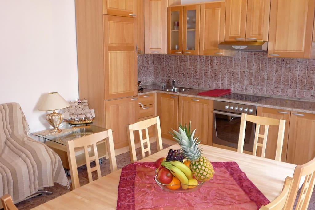 Komplette Einbauküche im Wohn- und Esszimmer inkl. Spülmaschine