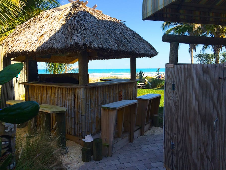 Tiki Bar and Shower to rinse off after beach time