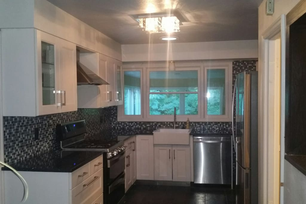 Gourmet Kitchen with granite counter tops, High end appliances including gas stove, gas oven and convection oven, huge refrigerator with bottom freezer, quiet dishwasher and farm style sink.