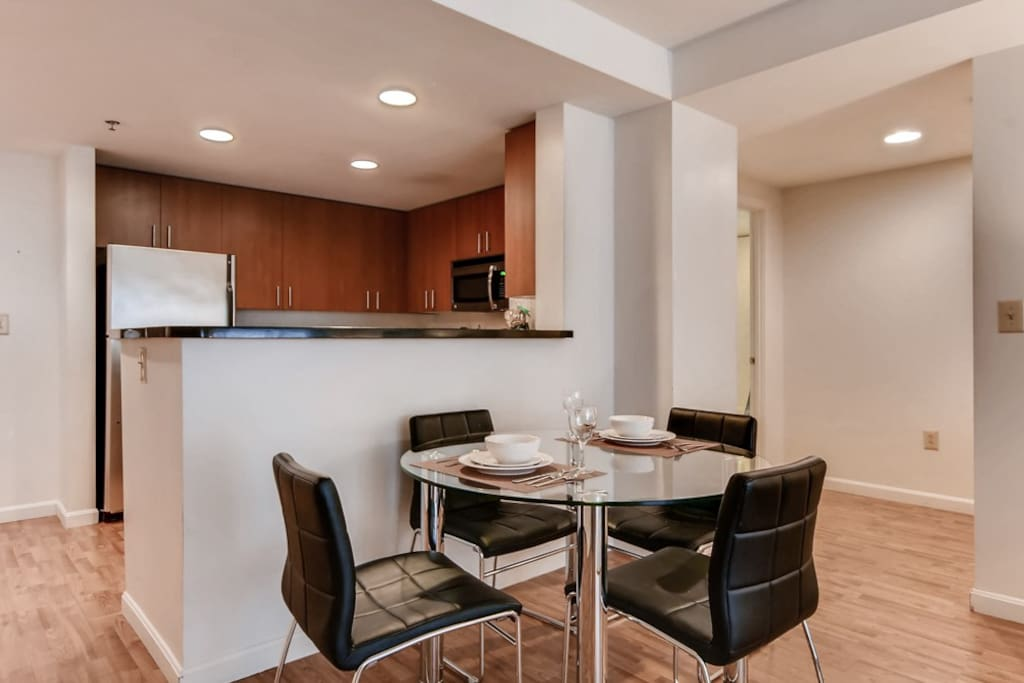 Dining area with seating for four where you can dine in comfort