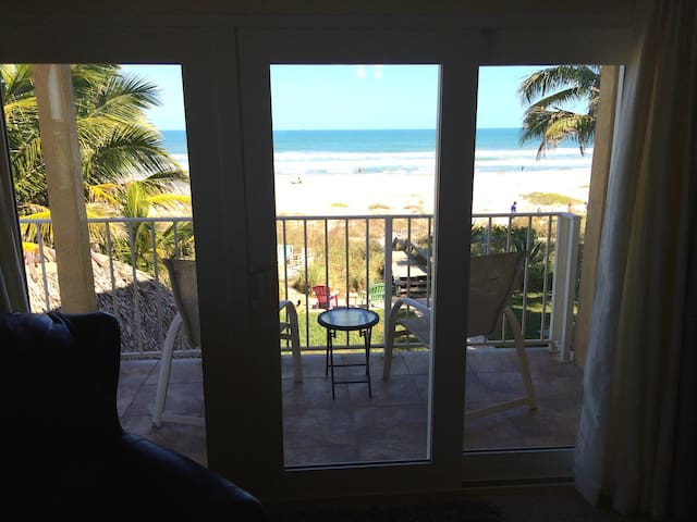 Balcony overlooking beach