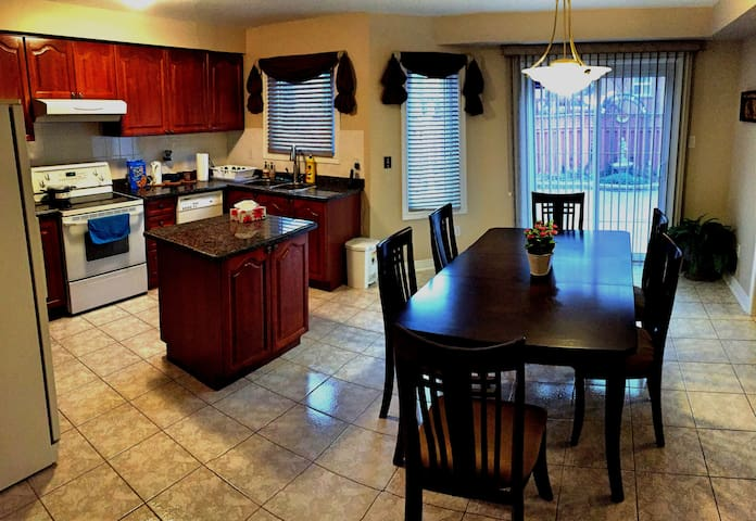 Kitchen and dining rooms.