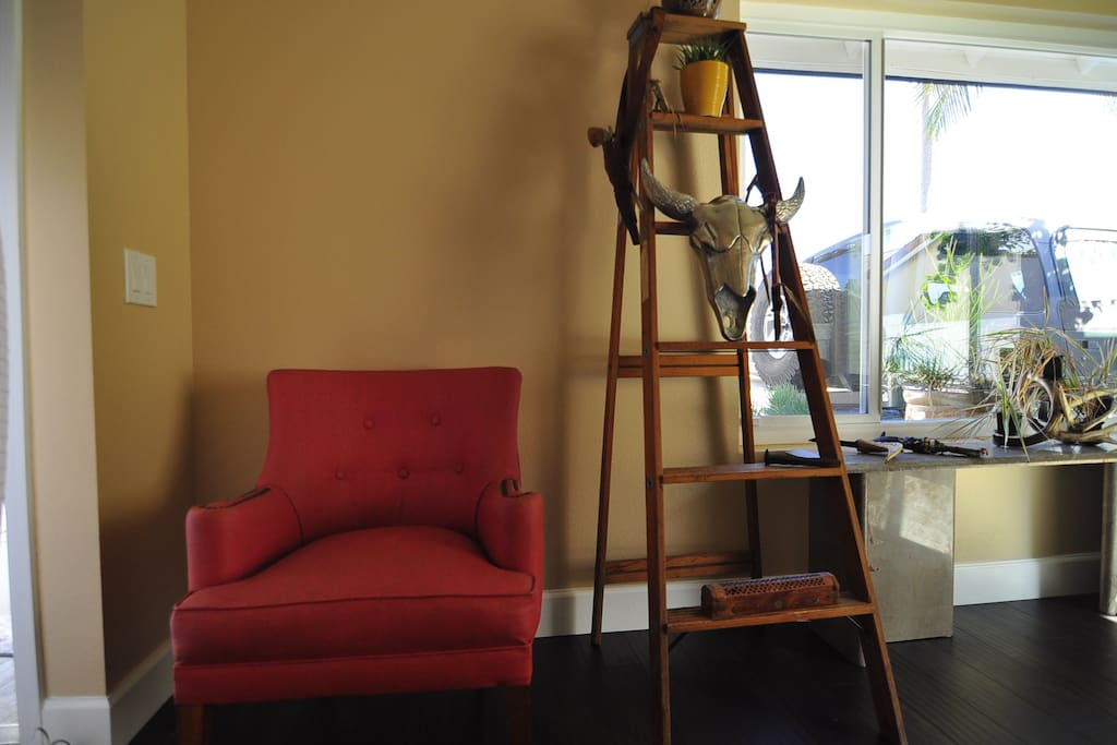 Every home needs a ladder and a red chair!!