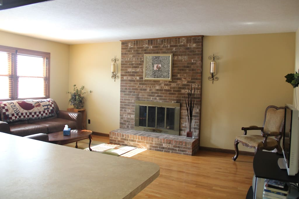 T.V room with Fireplace