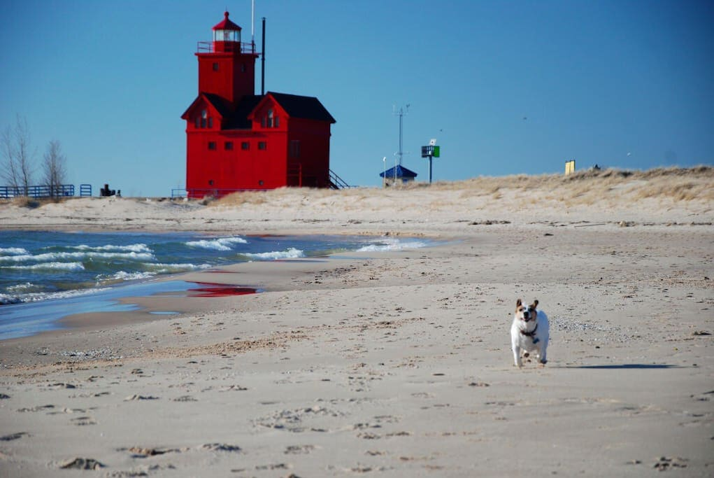 Private Macatawa Beach on Lake MI with Big Red