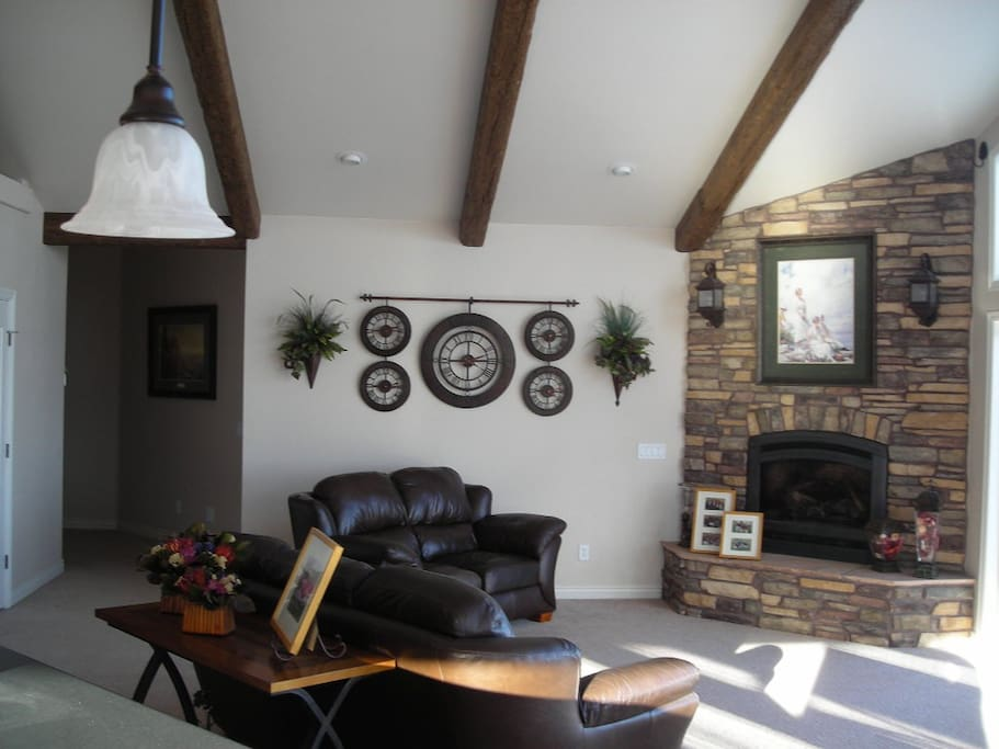 Two gas fireplaces, one wood burning stove.