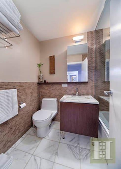 Clean, renovated bathroom