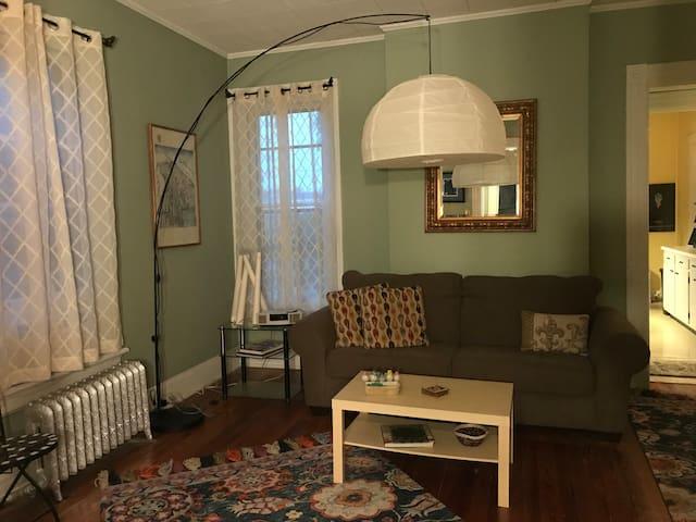 Living room w/Comfy sofa.