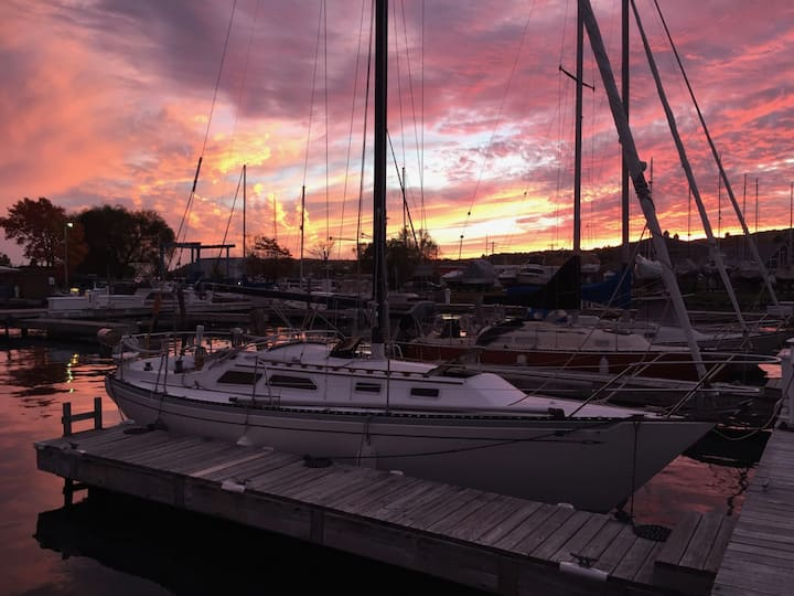 Cozy Sailboat in Downtown Marina