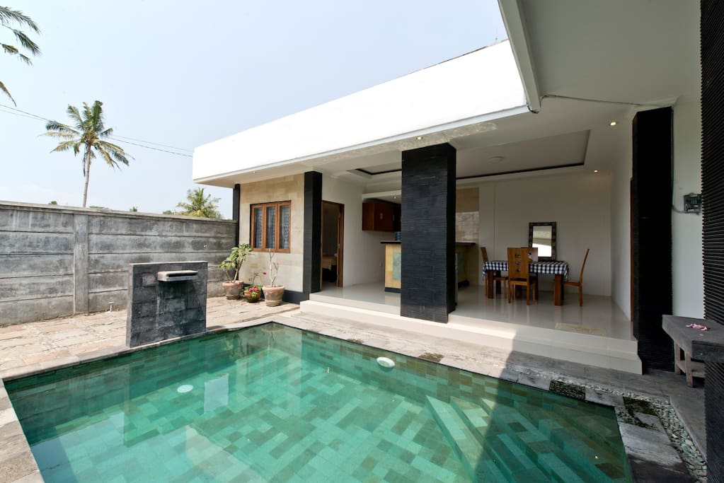 Swimming pool facing to the kitchen net