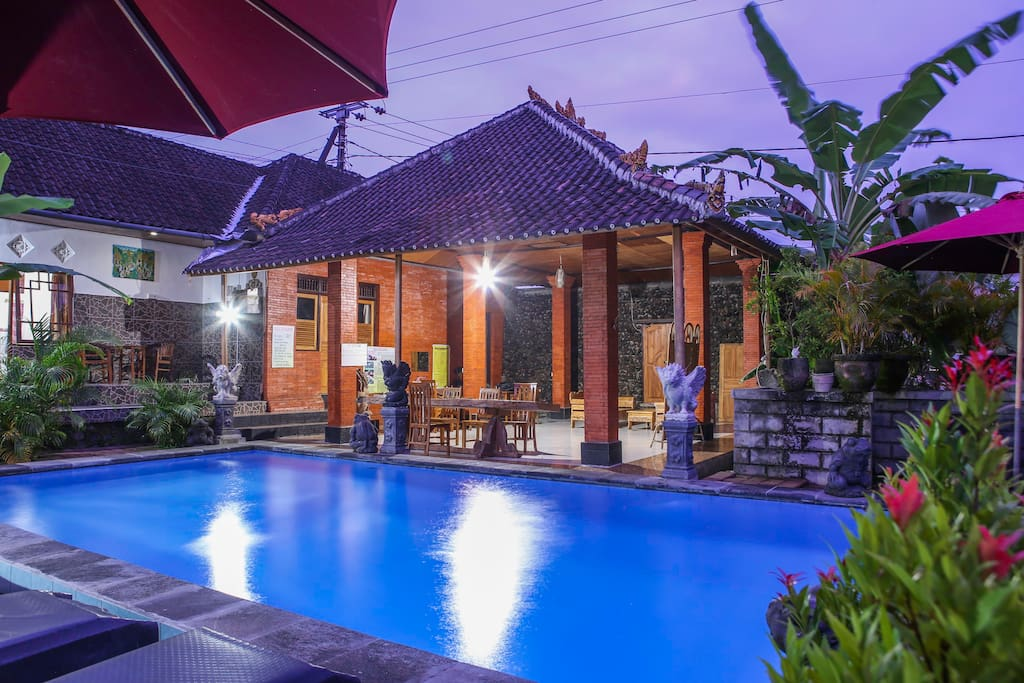 Swimming pool fasilities for free, located in the rice fields with big sitting place