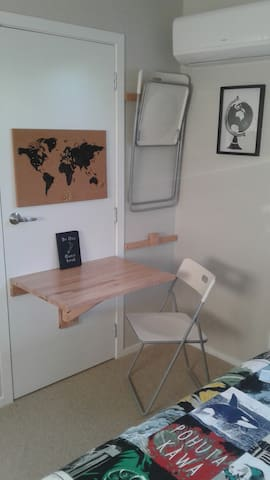 Dining area with folding table.