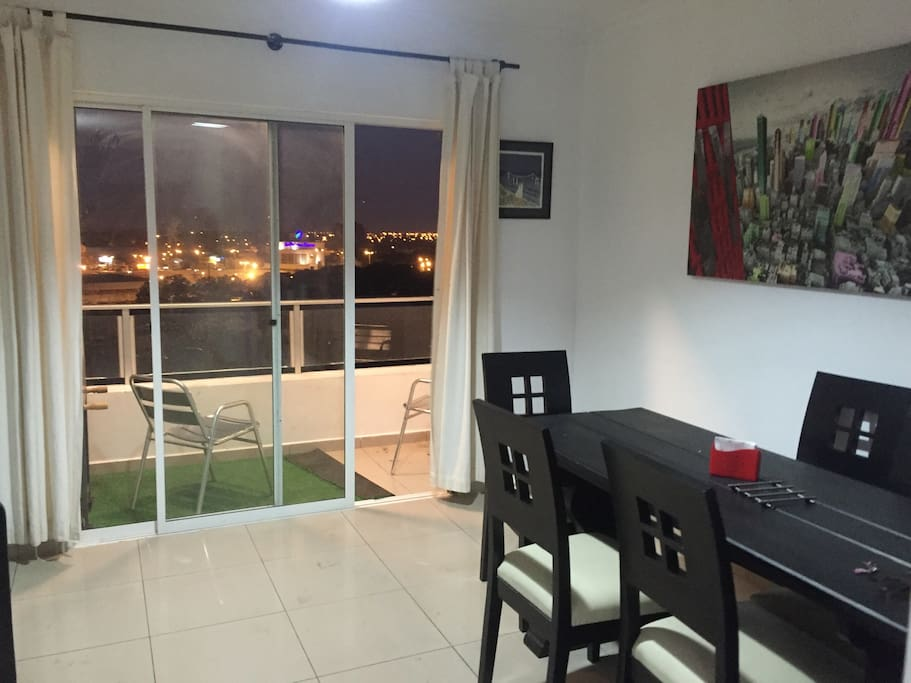 Balcony with the beautiful Santa Cruz city landscape, comfortable lunchroom&livingroom
