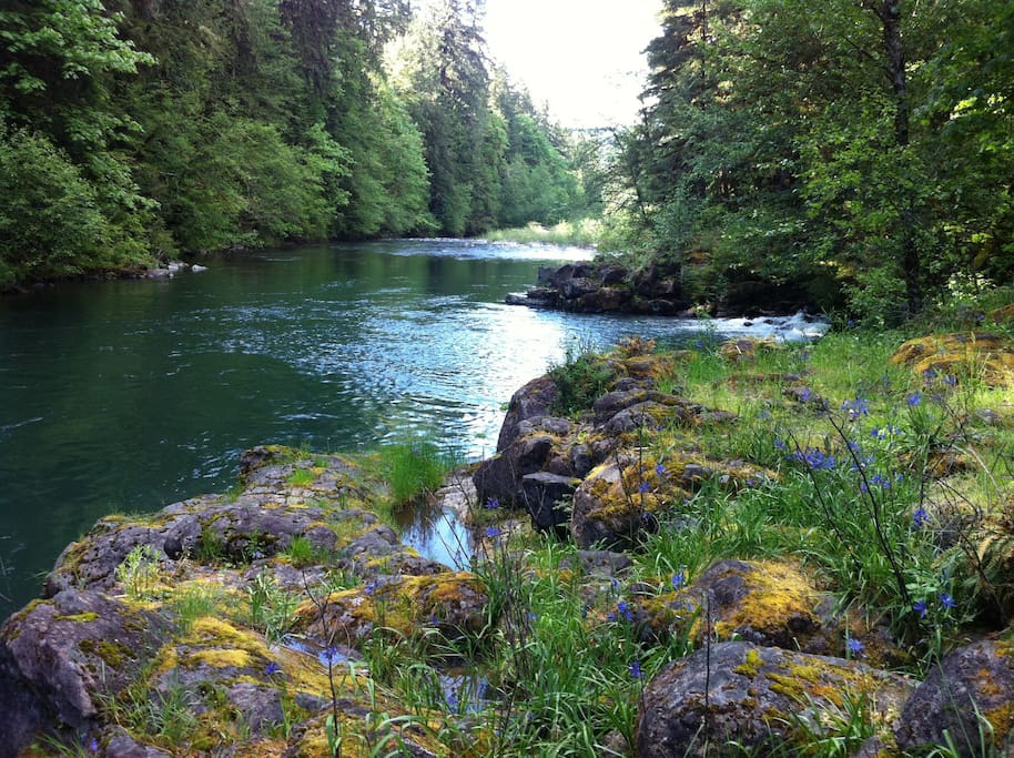 The cabin sits on the picturesque Molalla River.