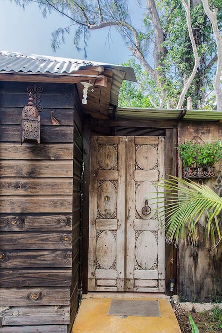 Entrance to The Cabin's Bathroom (Now Private with a tall, wooden fence!)
