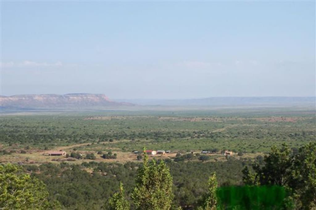 view of the JX Ranch headquarters from up on top of the Caprock looking north, Bunkhouse to far right