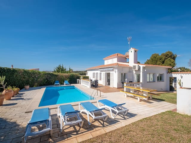 Villa with pool next to the beach, Es Canutells