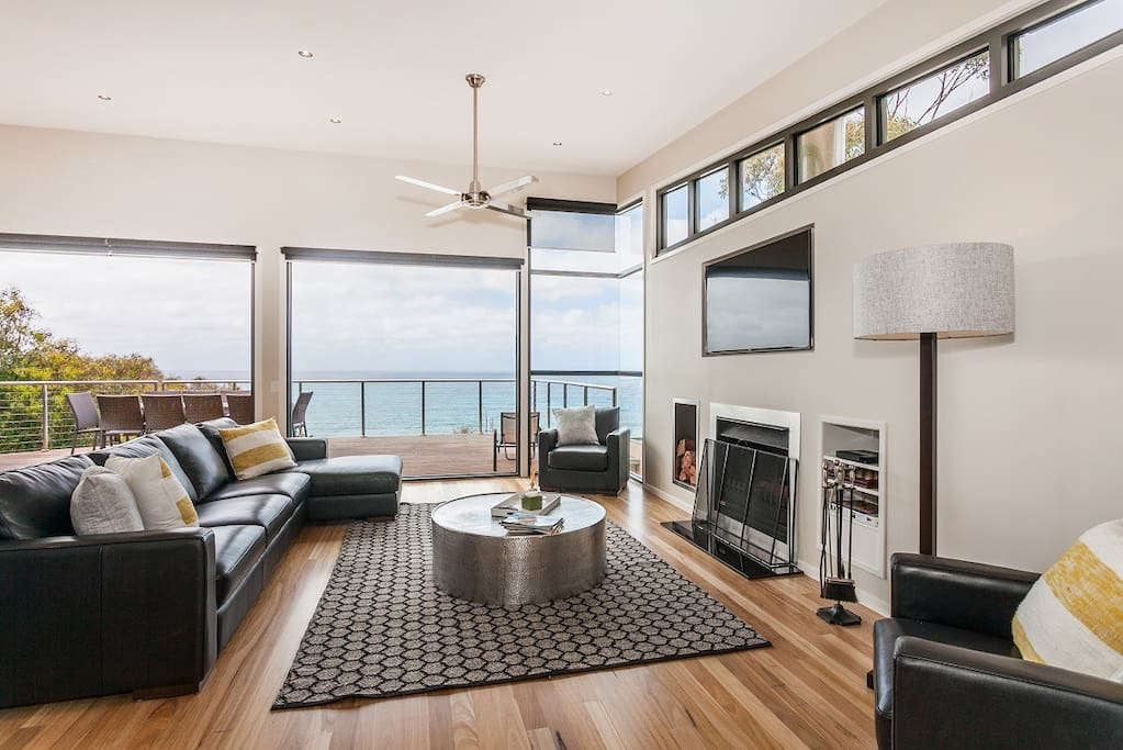 Beautiful ocean views from main living area with air con and open fire.