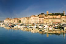 Nearby Cannes - old port and view up to le Suquet