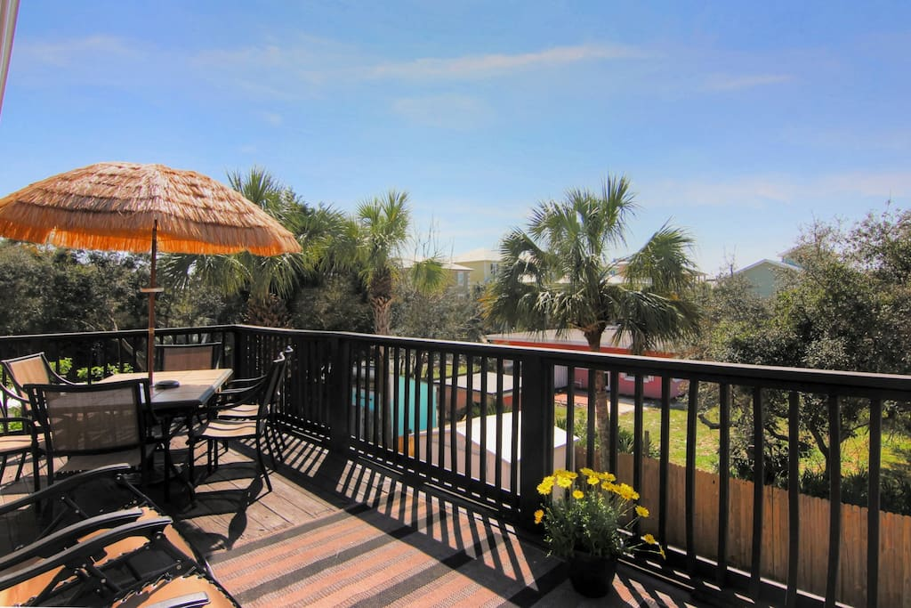 Dine and sunbathe on the large private balcony