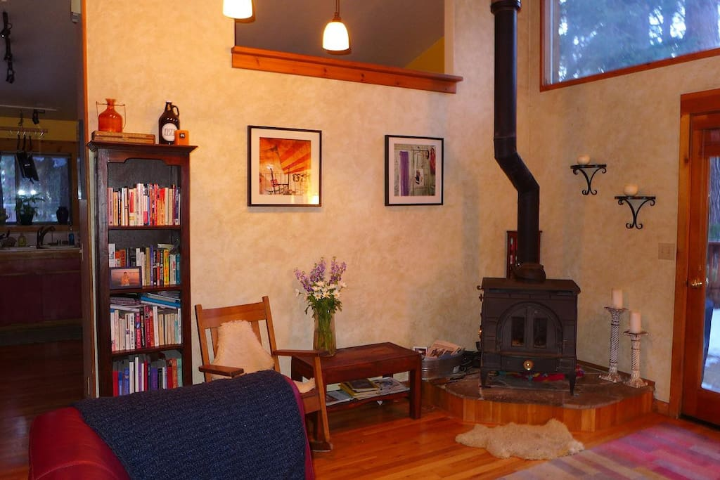 We have high ceilings and have a great, efficient woodstove and lots of wood--makes our house glow and very cozy.