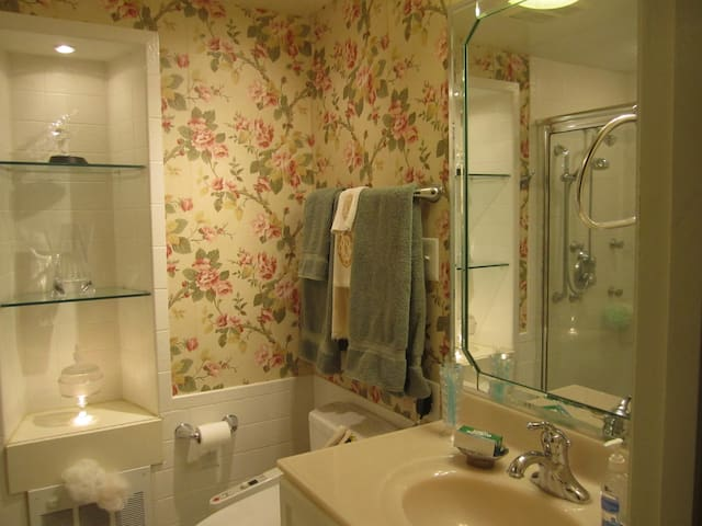 Heated toilet seat  and large shower in  private bathroom adjoining Cosy Rose Room.