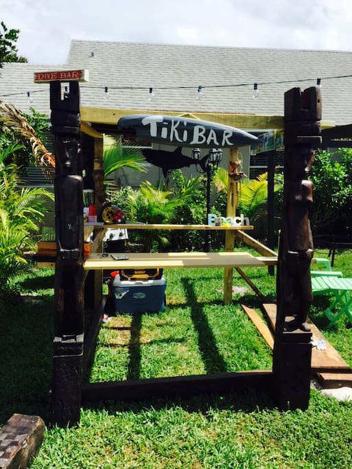 Where else can you have your very own Tiki Bar; your mood, your people, your music, your drinks. All your style. It's complete with a blender, refrigerator, cups, lights and MP3 stereo. With a fire pit right by, tiki torches and the beautiful starry sky -