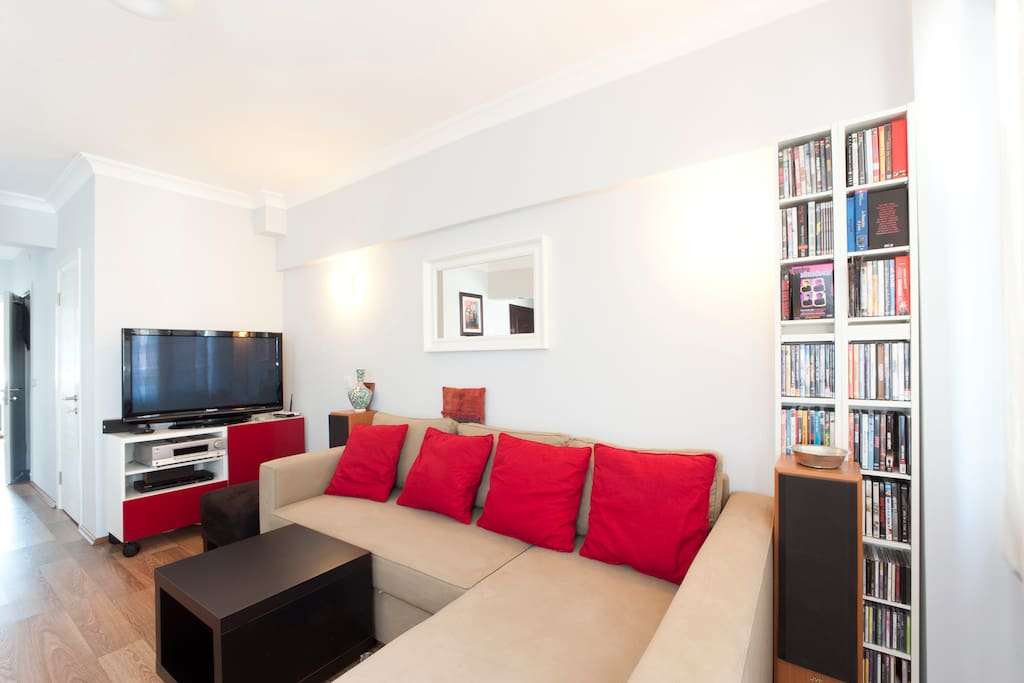 Very pleasant living room with TV, International channels,  internet