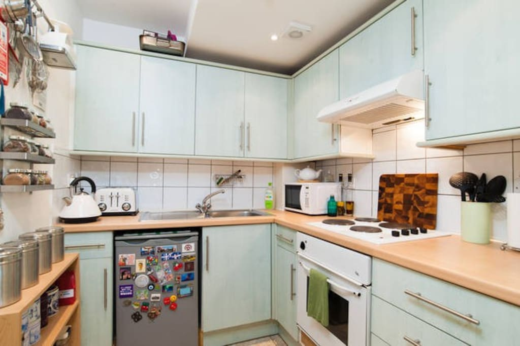 Kitchen, ok it's green - but it has everything you might need!