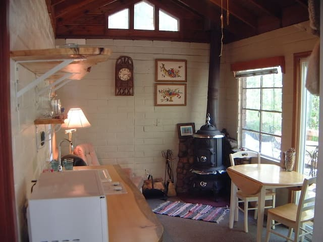 Functional wood burning stove, living area faces creek and private forest.