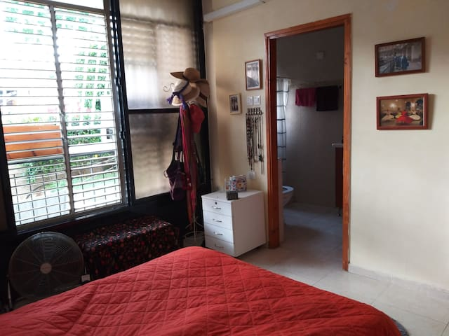 privet bedroom with double bed, clean sheets towels, wardrobe