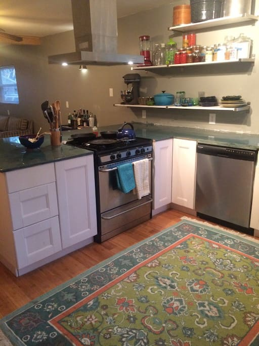 Kitchen looks into living space