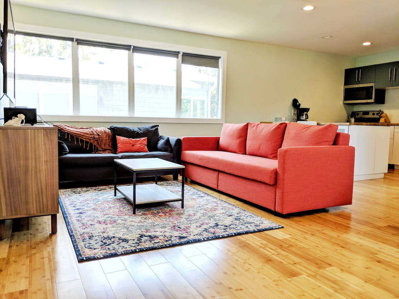 Plenty of seating with TV and Bluetooth speakers for relaxing.