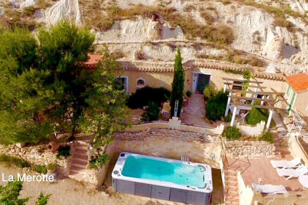 Your cavehouse, patio and pool below. Note the pool is sometimes shared with our other cave next door.