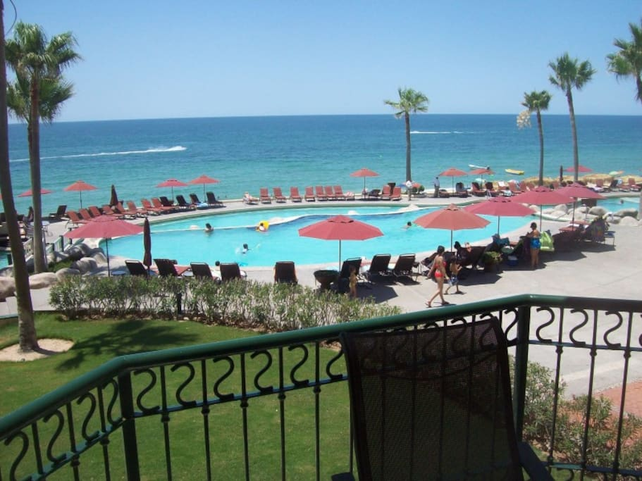 View of the pools from the balcony