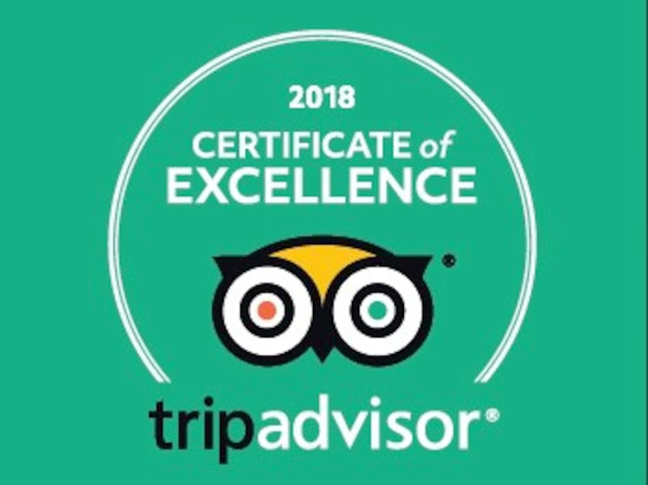 We are proud of having received the TripAdvisor Certificate of Excellence for the second year in a row. This rewards those that have earned great traveler reviews over the past year. Thanks to our valuable guests!