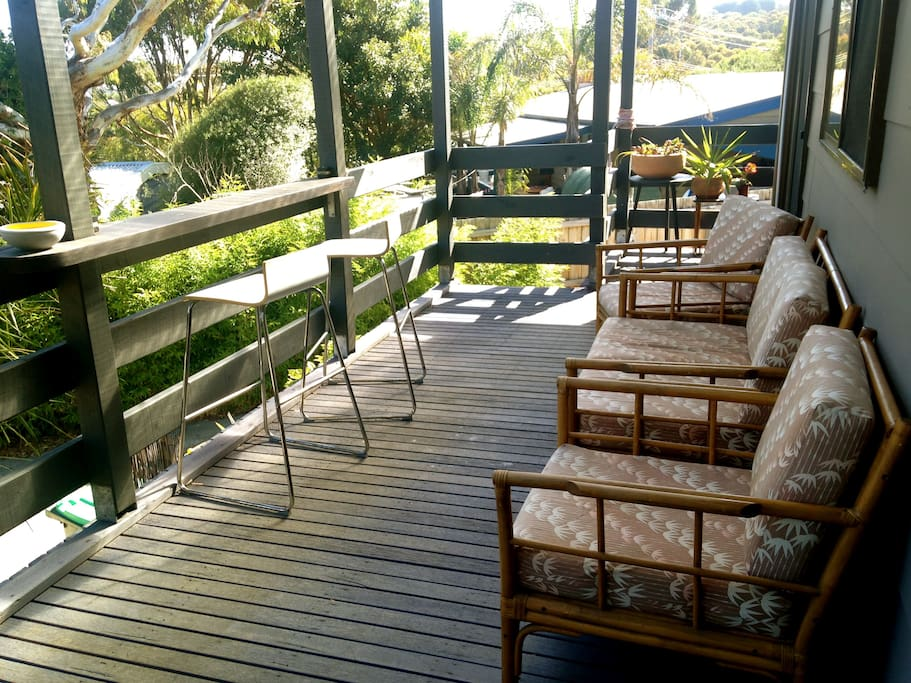Back deck, perfect spot to enjoy a hot or cold drink and take in the view back over Jan Juc