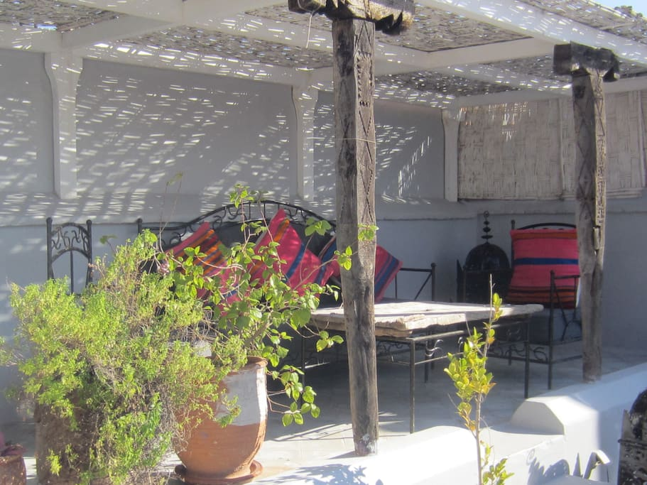 Covered seating area on terrace